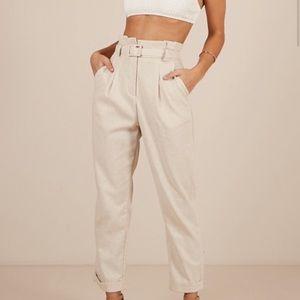 Showpo Linen Belted Trousers